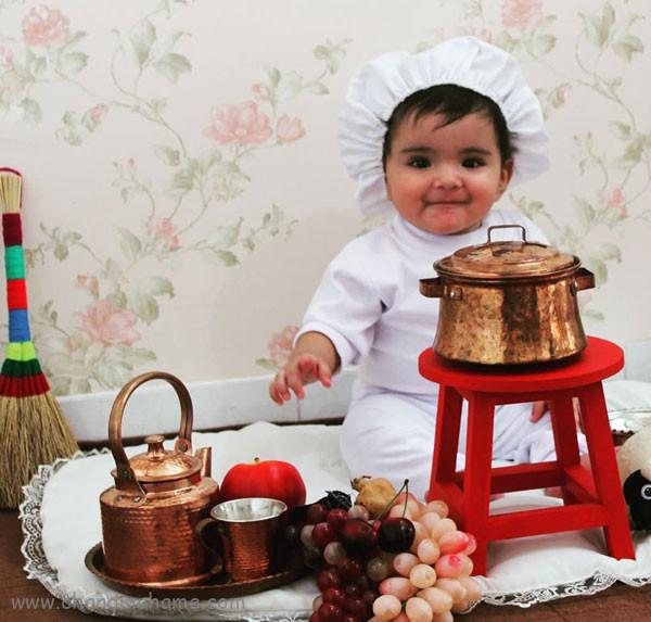 ایده عکس نوزاد با تم آشپزی