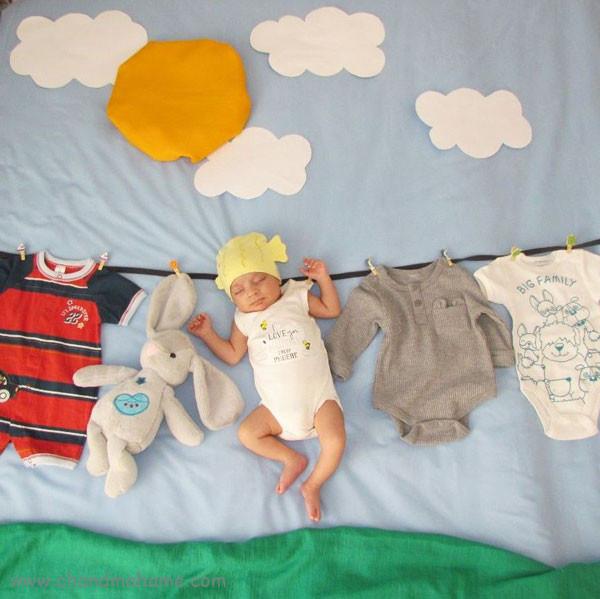 عکس بهاری نوزاد با هفت سین